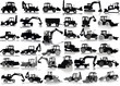Set of 35 silhouettes of a tractors of road service