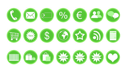 Iconos para web de tienda y compras en color verde
