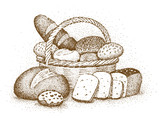 Bakery products drawn by hand