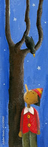 Pinocchio, bird and tree