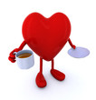 heart with arms and legs and cup of coffee