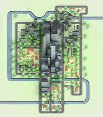 cityscape with office development isometric view