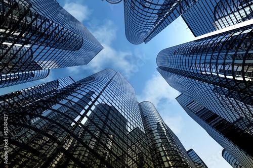 Reflective skyscrapers, business office buildings. - 52149427