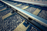 Fototapety Railroad straight track.