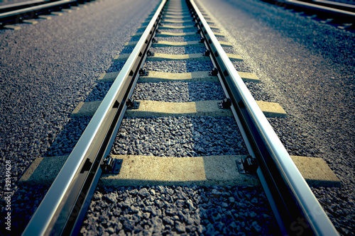 Railroad straight track.