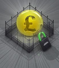pound coin in padlock locked fence concept