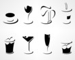 Collection of simple minimalistic drink icons