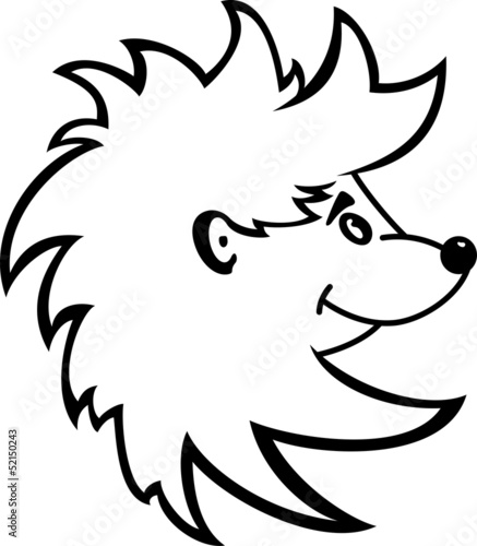 Cartoon illustration of a hedgehog isolated on white background