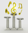 music concept with treble clef on column