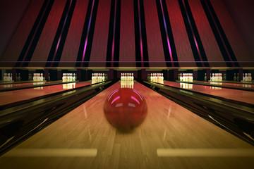 Ten-pin bowling shot.