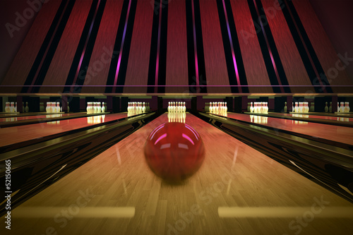 Ten-pin bowling shot.