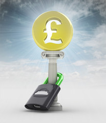 money concept with pound coin in sky flare