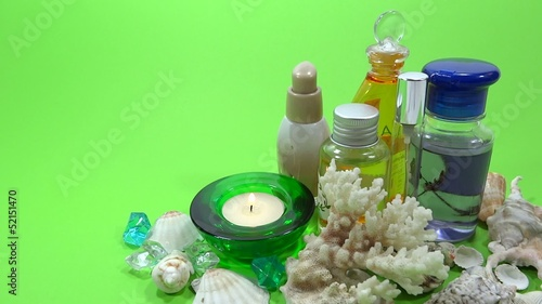 spa product in green background
