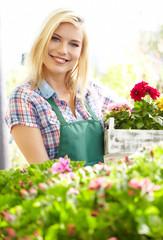 Woman working in garden center