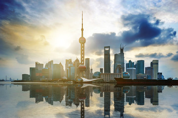 Beautiful Shanghai Pudong skyline