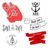 Set of wedding invitation typographic design elements poster