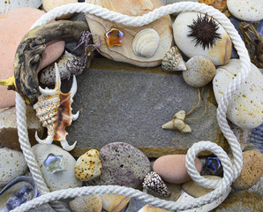 Sea border with rope and stones