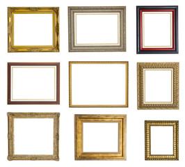 Colección de marcos de cuadro aislados sobre fondo blanco
