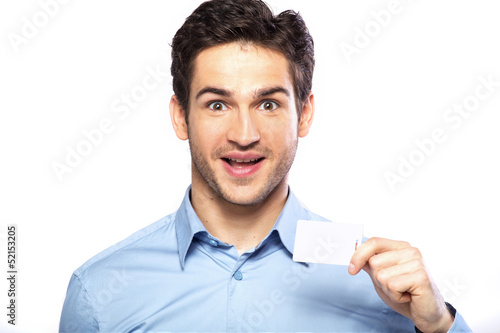 Surprised handsome guy wearing nice shirt