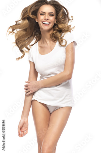 Cheerful woman with amazing hair