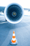 Jet engine with traffic cone in front