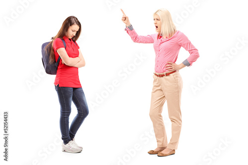 Full length portrait of an angry mother shouting at her daughter