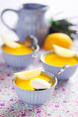 Cream cheese dessert with lavender and lemon jelly