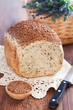 Homemade bread with flax seeds and rye bran, selective focus