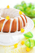 Easter vanilla cake with lemon icing, selective focus