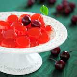 Homemade cherry jelly candy, selective focus