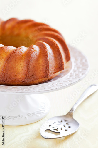 Vanilla and lemon cake from oat bran, selective focus