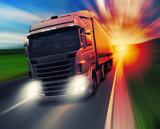 Fototapety Truck on highway