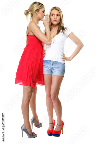 Gossiping friends, two women sharing a secret