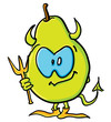 Funny cartoon pear is demon