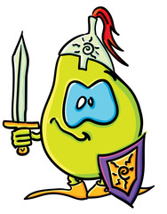 Funny cartoon pear is a knight