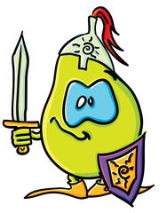 Funny cartoon pear is a knight