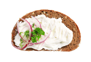 Brown bread with cream cheese