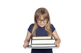 Beautiful little student with glasses and many books