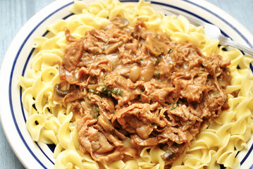 Sliced Beef Stroganoff with Noodles