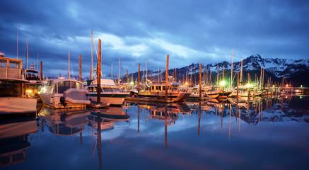 Seward Marina Alaska Boats Night Smooth Water Cloudy Sky