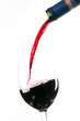 Red Burgandy Wine Pour Bottle Neck to Filled Glass