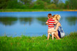 mother and baby boy relationships, colorful outdoors