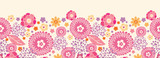 Vector warm summer plants horizontal seamless pattern background