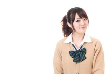 asian school girl on white background