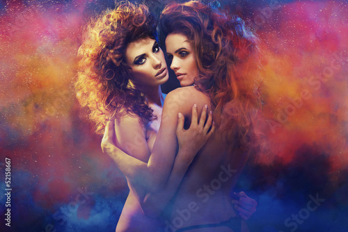 Two beauty ladies in a dream scenery