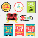 Fototapety bicycle badges bicycle club badges colorful collection