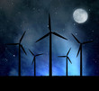 Wind turbines in the night sky