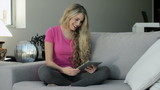 young beautiful woman relaxed using tablet