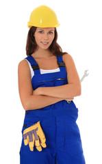 Attraktive junge Frau in blauem overall