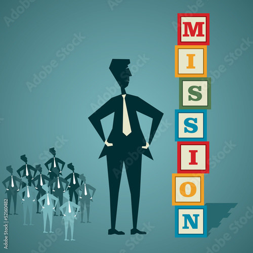 mission word block stock vector